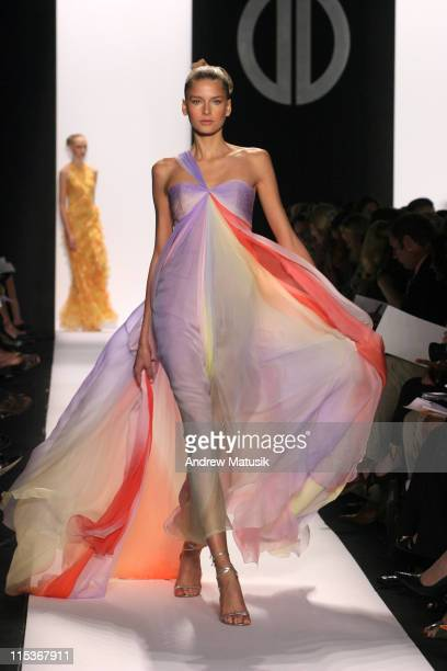 Hana Soukupova wearing Bill Blass Spring 2005 during Olympus Fashion Week Spring 2005 Bill Blass Runway at Theater Tent Bryant Park in New York City...