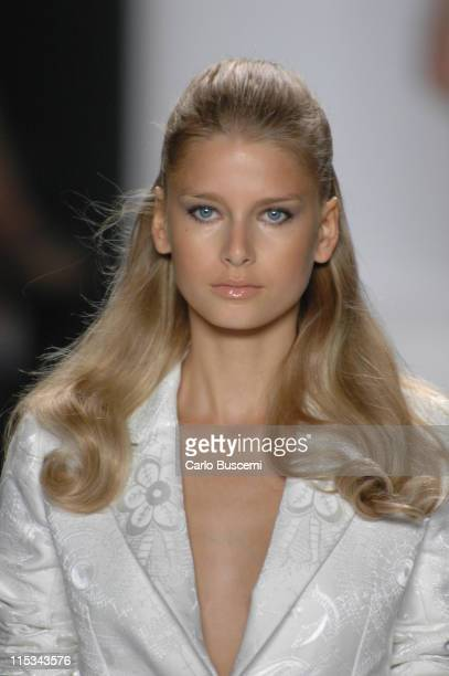 Hana Soukupova wearing Bill Blass Spring 2006 during Olympus Fashion Week Spring 2006 Bill Blass Runway at Bryant Park in New York City New York...