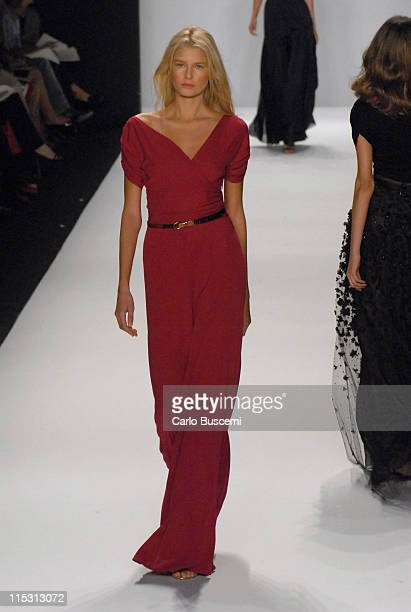 Hana Soukupova wearing Bill Blass Spring 2007 during Olympus Fashion Week Spring 2007 Bill Blass Runway at The Tent Bryant Park in New York City New...