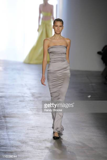 Hana Soukupova wearing Calvin Klein Fall 2005 during Olympus Fashion Week Fall 2005 Calvin Klein Runway at Milk Studios in New York City New York...