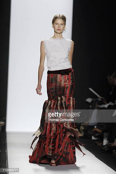 Hana Soukupova wearing Carolina Herrera Fall 2005 during Olympus Fashion Week Fall 2005 Carolina Herrera Runway at The Tent Bryant Park in New York...