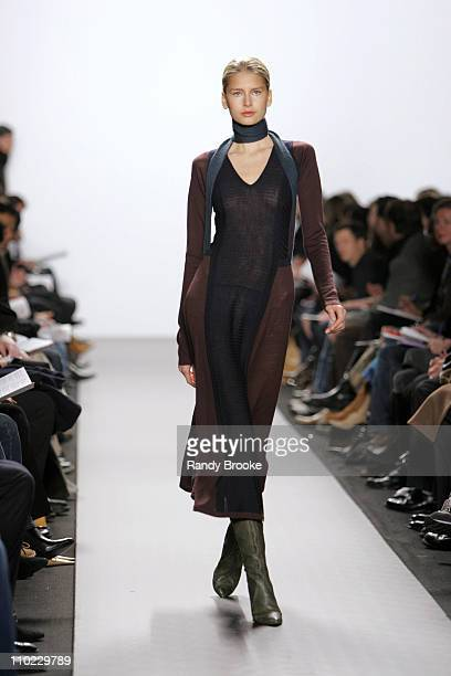 Hana Soukupova wearing Kenneth Cole Fall 2005 during Olympus Fashion Week Fall 2005 Kenneth Cole Runway at The Tent Bryant Park in New York City New...