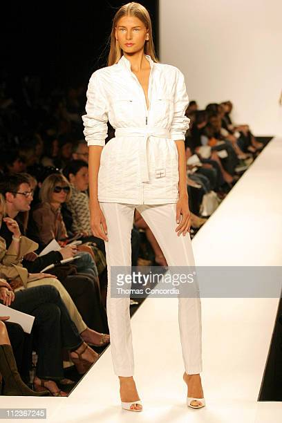 Hana Soukupova wearing Kenneth Cole Spring 2005 during Olympus Fashion Week Spring 2005 Kenneth Cole Runway at Theater Tent Bryant Park in New York...