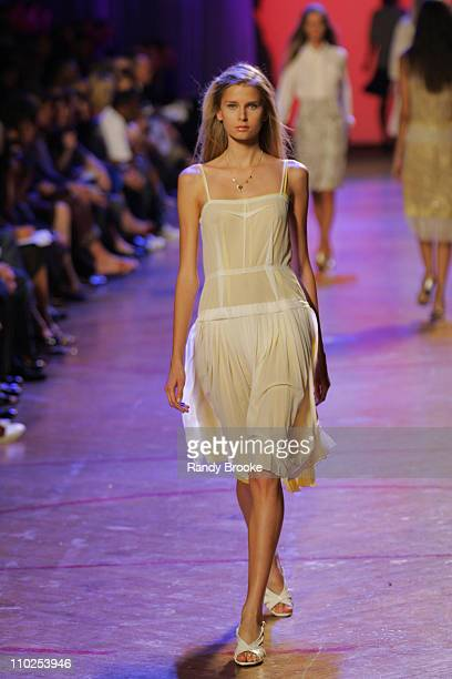 Hana Soukupova wearing Marc Jacobs Spring 2006 during Olympus Fashion Week Spring 2006 Marc Jacobs Runway at NY State Armory in New York City New...