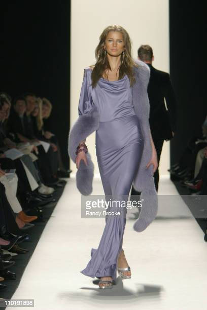 Hana Soukupova wearing Michael Kors Fall 2004 during Olympus Fashion Week Fall 2004 Michael Kors Runway at The Tent at Bryant Park in New York City...