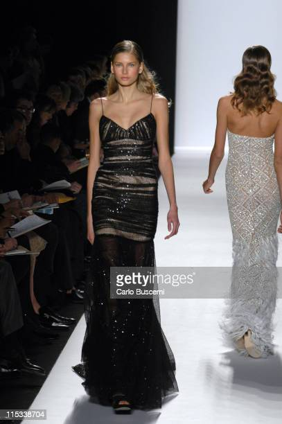 Hana Soukupova wearing Michael Kors Fall 2005 during Olympus Fashion Week Fall 2005 Michael Kors Runway at The Tent Bryant Park in New York City New...
