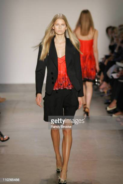 Hana Soukupova wearing PHi Spring 2006 during Olympus Fashion Week Spring 2006 PHi Runway at Bryant Park in New York New York United States