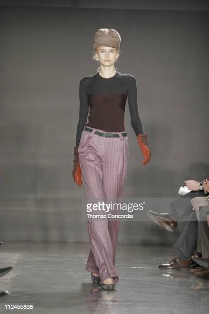 Hana Soukupova wearing Proenza Schouler Fall 2005 during Olympus Fashion Week Fall 2005 Proenza Schouler Runway at Milk Studios in New York City New...