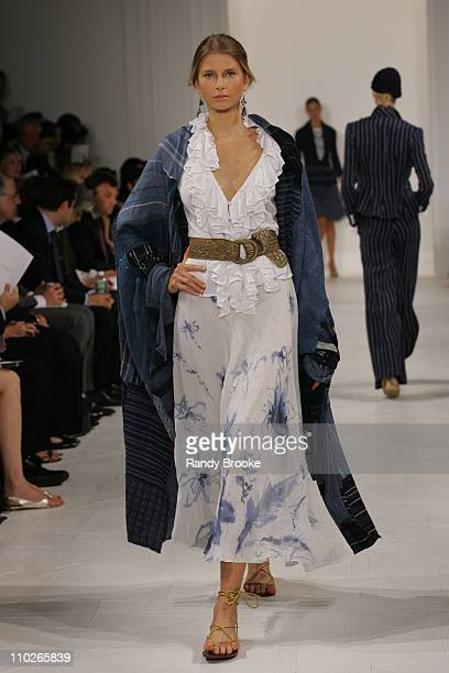 Hana Soukupova wearing Ralph Lauren Spring 2006 during Olympus Fashion Week Spring 2006 Ralph Lauren Runway at The Annex in New York City New York...