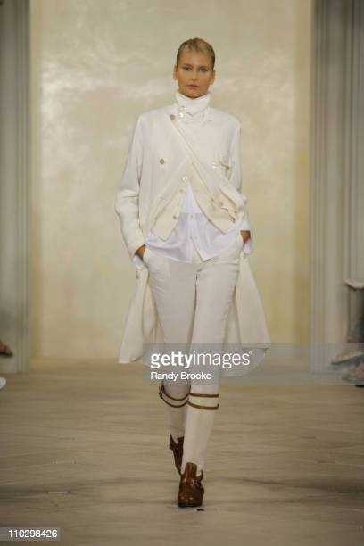 Hana Soukupova wearing Ralph Lauren Spring 2007 during Olympus Fashion Week Spring 2007 Ralph Lauren Runway at Skylight Studios in New York City New...