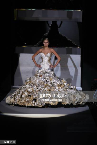 Hana Soukupova wearing Zac Posen Spring 2007 during Olympus Fashion Week Spring 2007 Zac Posen Runway at The Tent Bryant Park in New York City New...