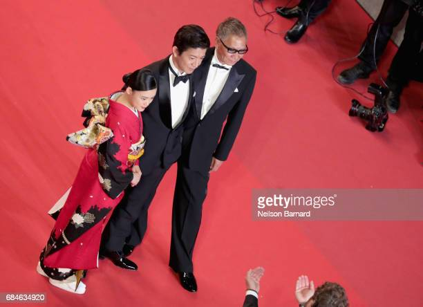 Hana Sugisaki Takuya Kimura and Director Takashi Miike attend the Blade Of The Immortal premiere during the 70th annual Cannes Film Festival at...