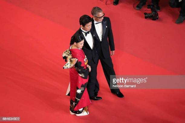 Hana Sugisaki Takuya Kimura and Director Takashi Miike attend the 'Blade Of The Immortal ' premiere during the 70th annual Cannes Film Festival at...