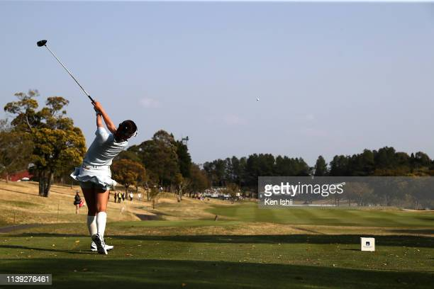Hana Wakimoto of Japan hits a tee shot on the 18th hole during the second round of the AXA Ladies Golf Tournament at the UMK Country Club on March 30...