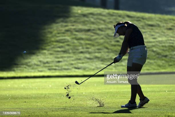 Hana Wakimoto of Japan hits her second shot on the 1st hole during the second round of the JLPGA Championship Konica Minolta Cup at Shizu Hills...