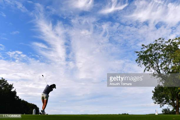 Hana Wakimoto of Japan hits her tee shot on the 2nd hole during the first round of the 52nd LPGA Championship Konica Minolta Cup at the Cherry Hills...