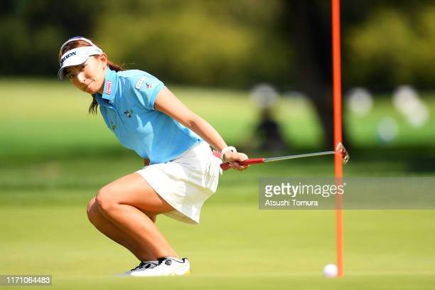 Hana Wakimoto of Japan holes the birdie putt on the 13th green during the second round of the Nitori Ladies at Otaru Country Club on August 30 2019...