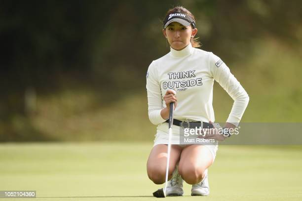 Hana Wakimoto of Japan prepares to putt on the 18th green during the final round of the Udonken Ladies at Mannou Hills Country Club on October 14...