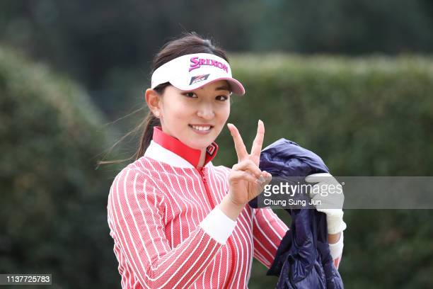Hana Wakimoto of Japan reacts after a tee shot on the 2nd hole during the second round of the TPoint x ENEOS Golf Tournament at Ibaraki Kokusai Golf...
