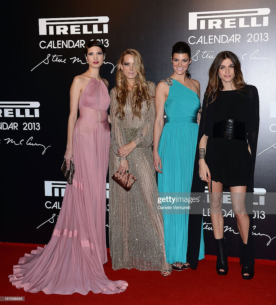 Hanaa Ben Abdesslem, Petra Nemcova, Summer Rayne Oakes and Elisa Sednaoui attend the '2013 Pirelli Calendar Unveiling' on November 27, 2012 in Rio de Janeiro, Brazil.
