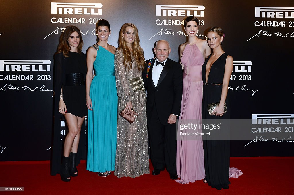 Hanaa Ben Abdesslem, Petra Nemcova, Summer Rayne Oakes, Steve McCurry and Elisa Sednaoui attend the '2013 Pirelli Calendar Unveiling' on November 27, 2012 in Rio de Janeiro, Brazil.