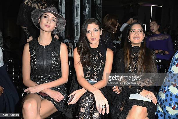 Hanaa Ben Abdesslem Razane Jammal and Noor Fares attend the Elie Saab Haute Couture Fall/Winter 20162017 show as part of Paris Fashion Week on July 6...