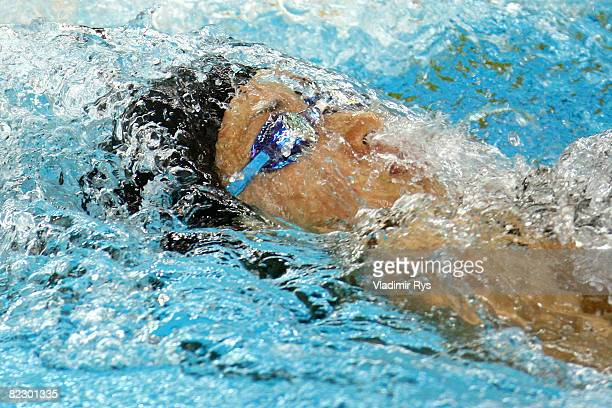 Hanae Ito of Japan competes in the Women's 200m Backstroke Heat 4 held at the National Aquatics Centre during Day 6 of the Beijing 2008 Olympic Games...