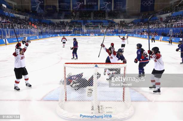 Hanae Kubo of Japan celebrates scoring a goal in the first period against Korea during the Women's Ice Hockey Preliminary Round Group B game between...