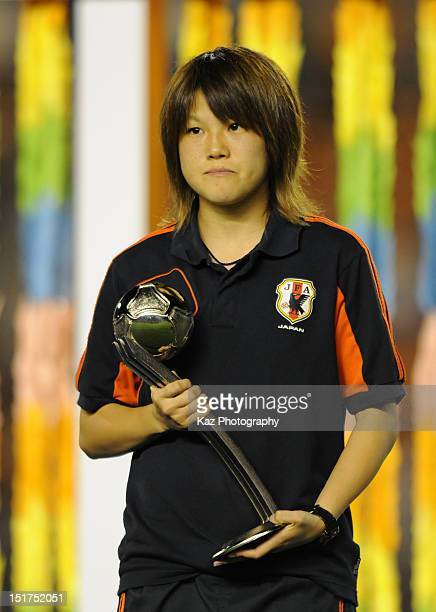 Hanae Shibata of Japan wins the adidas Silver Ball during the FIFA U20 Women's World Cup Final match between USA and Germany at the National Stadium...