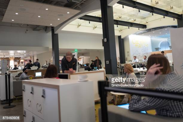 SAP HanaHaus coworking space at the Blue Bottle Coffee shop in Silicon Valley Palo Alto California part of an adaptive reuse which turned the former...