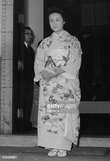 Hanako Tsugaru wearing a traditional kimono as she waits for a gift envoy to arrive following the announcement of her engagement to Prince Yoshi of...