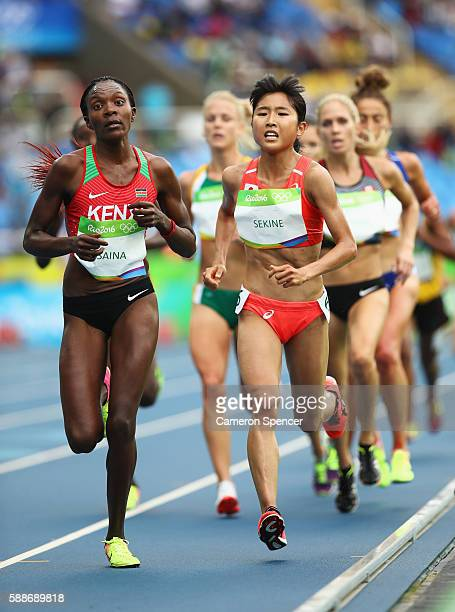 Hanami Sekine of Japan and Betsy Saina of Kenya compete in the Women's 10000 metres final on Day 7 of the Rio 2016 Olympic Games at the Olympic...