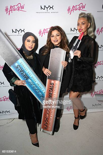 Hanan Alnajadah @hananalnajadah Noha Nabil @nohastyleicon and Model Roz @model_roz attend the NYX Cosmetics professional makeup #ArtRev 2017 Welcome...