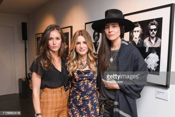Hanane El Moutii Meryl Hadida and Tasya van Ree attend Oliver Peoples x Tasya van Ree Celebrates Who is Oliver Exhibition at LECLAIREUR on February...