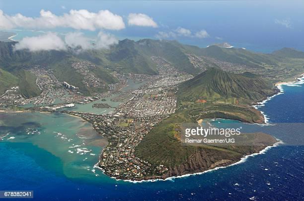 hanauma bay aerial - kai stock pictures, royalty-free photos & images