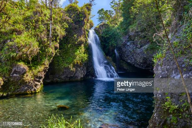 hanawi falls,road to hana,hana,maui,hawaii,usa - hannah brooks stock pictures, royalty-free photos & images