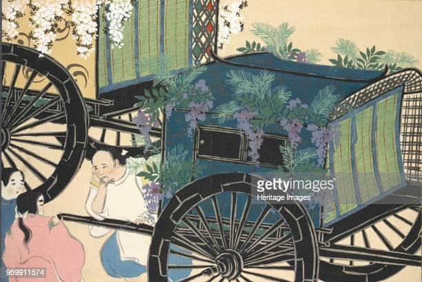 Hanazashiguruma fromMomoyogusa The World of Things Vol II pub1909 colour block woodcut A Cart with Flowers