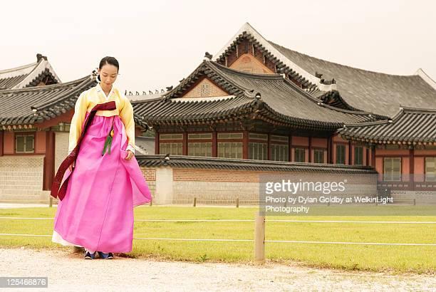 hanbok - gyeongbokgung stock photos and pictures