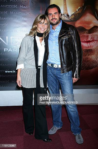 'Hancock' premiere in Paris France on June 16 2008 Nathalie Vincent and her friend Philippe