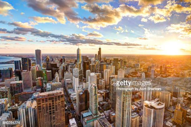 hancock sunset - chicago stock pictures, royalty-free photos & images