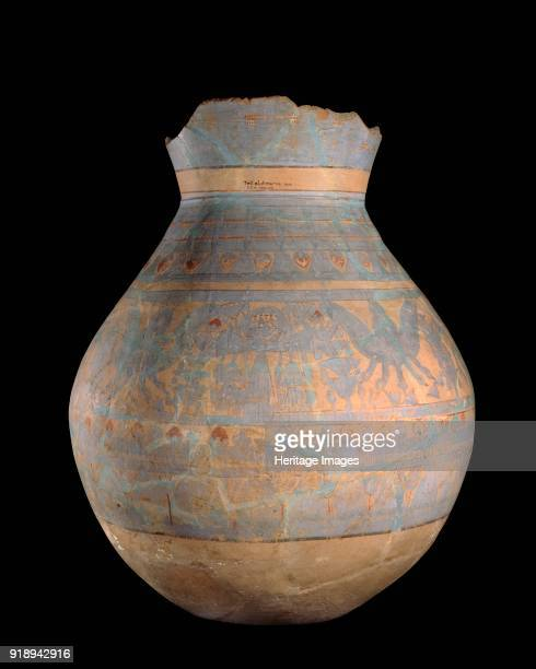 Hand and wheelmade jar with blue painted motifs XVIIIth Dynasty Dimensions height 93 cmdiameter 70 cm