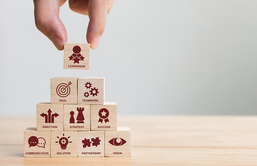 Hand arranging wood block stacking with icon leader business. Key success factors for leadership elements concept 1037401190
