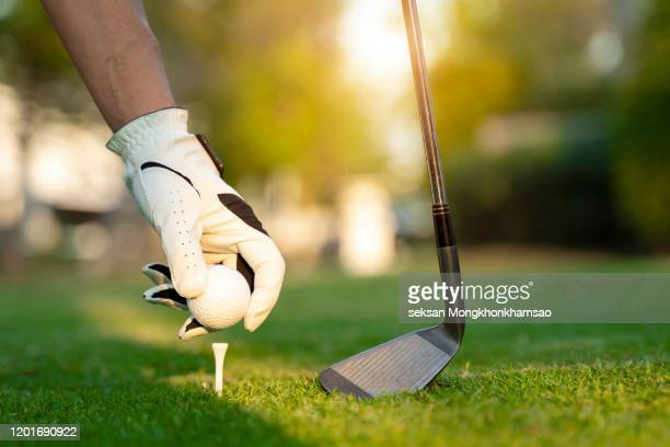 hand asian woman putting golf ball on tee with club in golf course on evening and sunset time a for healthy sport. lifestyle concept - golftee stock-fotos und bilder