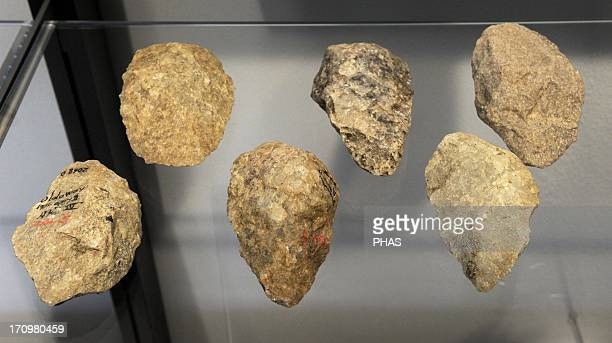 Hand axes Culture of Homo erectus know as Acheulian Culture 1500000200000 BC Lower Paleolithic From Tanzania Java France and England National Museum...