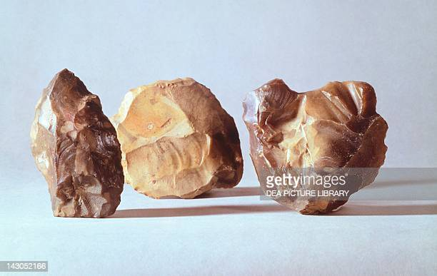 Hand axes unearthed in Swanscombe Kent England Acheulean Culture Lower Paleolithic London British Museum