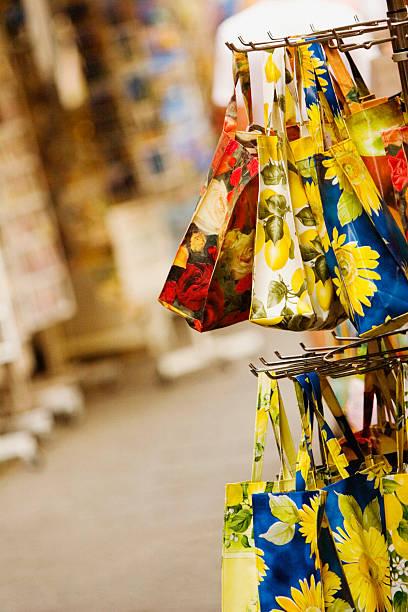Hand bags at a market stall, Via Padre Reginaldo Giuliani, Sorrento, Sorrentine Peninsula, Naples Province, Campania, Italy