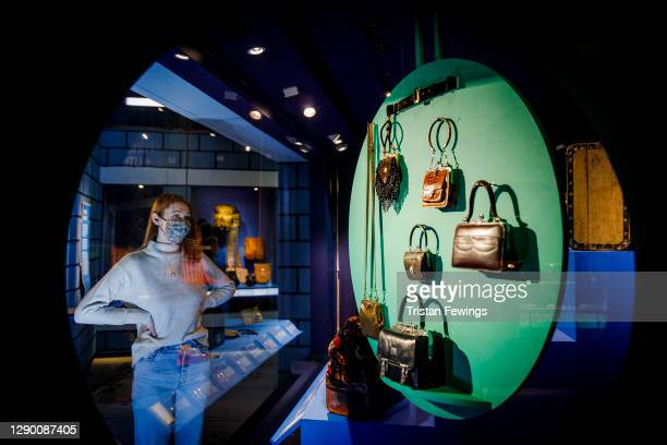 """Hand bags go on view during the """"Bags: Inside Out"""" press view at Victoria and Albert Museum on December 08, 2020 in London, England."""