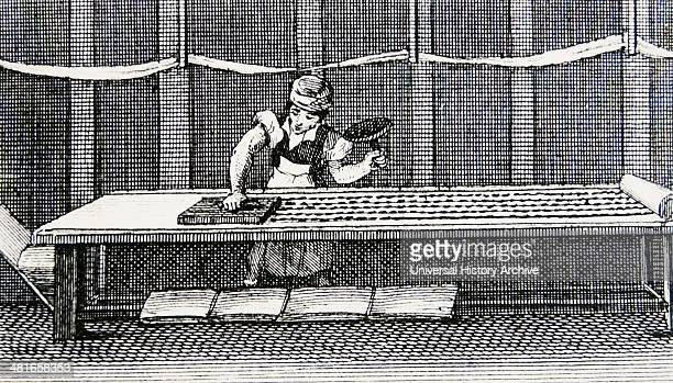Hand block printing cotton Manchester England Engraving published Ongar 1823