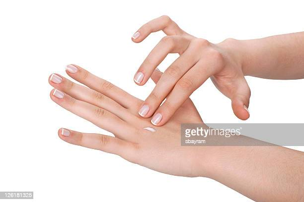 hand care - hand cream stock photos and pictures