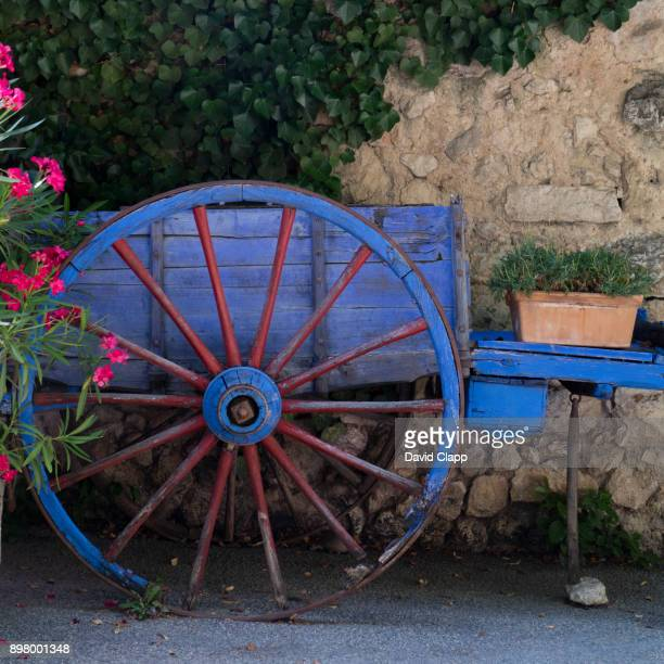 Hand cart with flowers, Moustiers St Marie, Provence, France